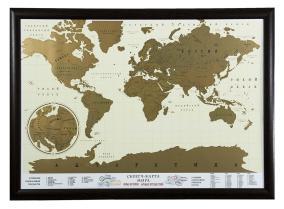 Скретч-карта мира в рамке (цвет венге) от 5 400 руб