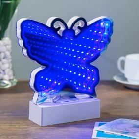 Зеркальный 3D Светильник Бабочка (с эффектом тоннеля) от 990 руб
