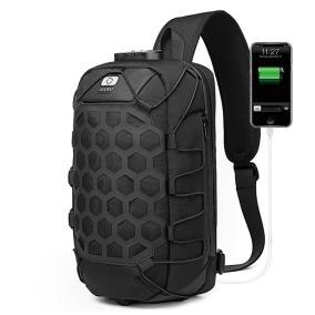 Однолямочный рюкзак с USB портом и кодовым замком Hoshi (black) от 2 890 руб
