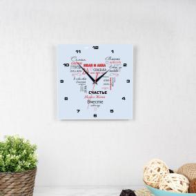 """Часы квадро """"Свадебное сердце"""" именные от 1 190 руб"""