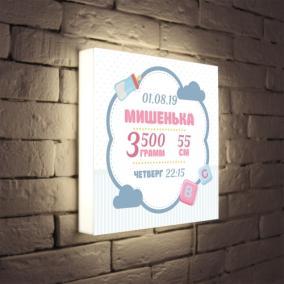 Именной светильник с метрикой «Малышу» от 3 490 руб