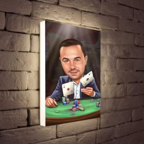 Светильник с портретом в образе по Вашему фото «Игрок» от 7 380 руб