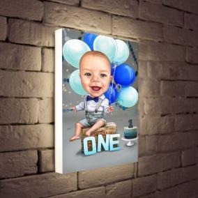 Светильник с портретом в образе по Вашему фото «Первый годик» от 7 380 руб
