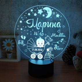 Именной 3D светильник с метрикой «Малыш в люльке» от 1 690 руб