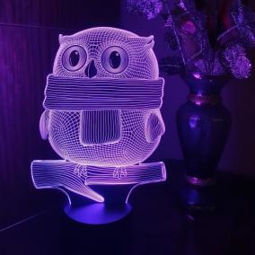 3D светильник «Сова в шарфике» от 1 690 руб