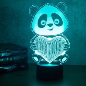 3D светильник «Панда с сердцем» от 1 690 руб