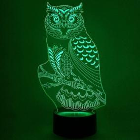 3D светильник «Сова на ветке» от 1 890 руб