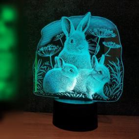 3D светильник «Кроличья семейка» от 1 890 руб