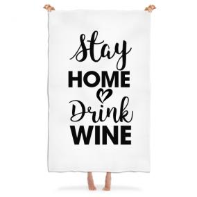 Плед «Stay home drink wine» от 3 480 руб
