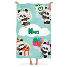 Именной детский плед «Веселые панды» от 3 480 руб