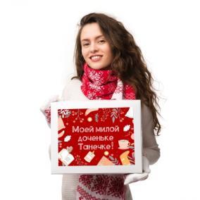 Именной подарочный набор: шарф и варежки «Зимний» (красный) от 3 490 руб