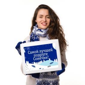 Именной подарочный набор: шарф и варежки «Зимний» (синий) от 3 490 руб
