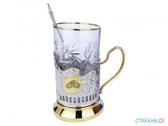 """Подстаканники """"Серебряная свадьба 25 лет"""" гравировка, позолоченные. Набор для чая: футляр лежа под два, 2 хруст. стакана, 2 ложки - фото 2"""