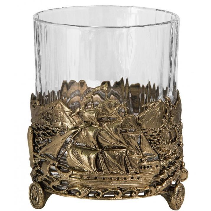 "Бокал для виски руководителю ""Парусник"" (хрусталь, бронза) 280 мл купить"