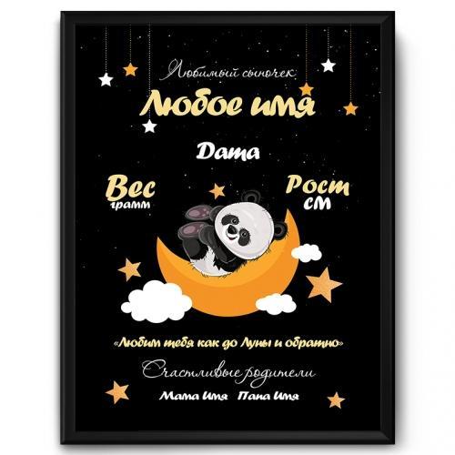 Именной постер с метрикой «Любим до Луны и обратно» купить