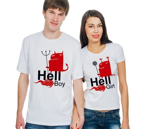 Футболки парные Hell boy, hell girl купить