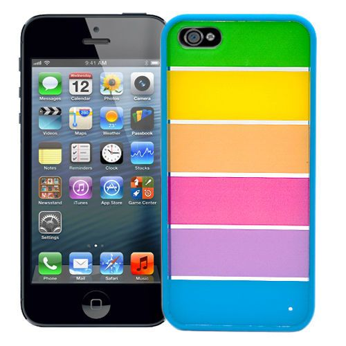 "Чехол для iPhone 5 ""Strips with bright blue"" Kawaii купить"