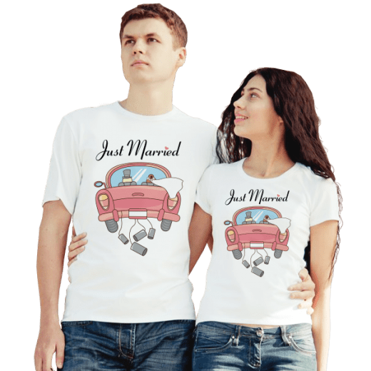 Футболки парные Just Married, машина купить