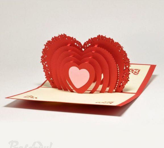 Объемная открытка сердца, для друзей надписями