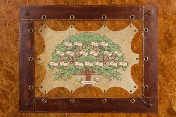 Картина дерево из кожи